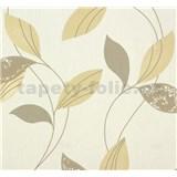Vliesové tapety na stenu Suprofil Style - listy hnedo-béžove na bielom podklade