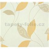 Vliesové tapety na stenu Suprofil Style - listy svetle hnedo-oranžove na bielom podklade