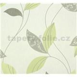 Vliesové tapety na stenu Suprofil Style - listy sivo-zelené na bielom podklade