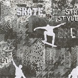 Vliesové tapety na stenu IMPOL Sweet and Cool skate - street style sivo-čierný