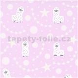 Vliesové tapety na stenu IMPOL Sweet and Cool lamy alpaka na ružovom podklade