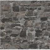 Papierové tapety na stenu Sweet & Cool kamenná stena čierno-sivá