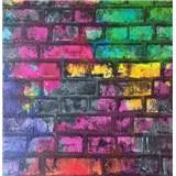 Papierové tapety na stenu Sweet & Cool tehlová stena zelená, ružová, fialová