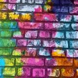 Papierové tapety na stenu Sweet & Cool tehlová stena sivá, oranžová, fialová