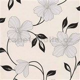 Papierové tapety na stenu Sweet & Cool kvety sivé s čiernými lístkami