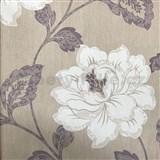 Vliesové tapety na stenu kvety na hnedom podklade