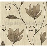 Vliesové tapety na stenu kvety tmavo hnedé s trblietkami