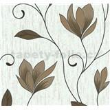 Vliesové tapety na stenu kvety hnedé s medenými trblietkami