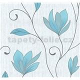 Vliesové tapety na stenu kvety modré s trblietkami