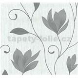 Vliesové tapety na stenu kvety sivé so striebornými trblietkami na bielom podklade