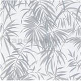 Vliesové tapety IMPOL Timeless listy tmavo sivé na bielom podklade