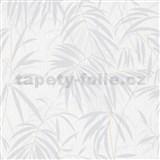 Vliesové tapety IMPOL Timeless listy sivé na bielom podklade