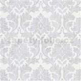 Vliesové tapety IMPOL Timeless ornamenty sivé so striebornými trblietkami na bielom podklade