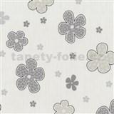 Tapety na stenu Timeless - kvety sivé - ZĽAVA