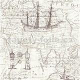 Vliesové tapety na stenu Times mapa hnedá