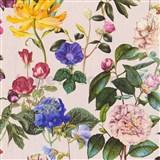 Vliesové tapety na stenu Trendwall kvety farebné na béžovom podklade