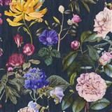 Vliesové tapety na stenu Trendwall kvety farebné na čiernom podklade