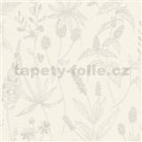 Vliesové tapety na stenu Trendwall lúčne kvety sivé na krémovom podklade