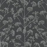 Vliesové tapety na stenu Trésor florálny vzor čierny