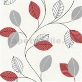 Papierové tapety na stenu Tribute - lístie červené, sivé na bielom podklade