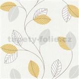 Papierové tapety na stenu Tribute - lístie žlté na krémovom podklade