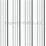 Papierové tapety na stenu Tribute - pruhy sivé, čierne, strieborné na bielom podklade