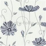 Vliesové tapety na stenu Tribute - kvety mákov modré na bielom podklade