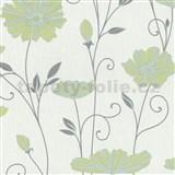 Vliesové tapety na stenu Tribute - kvety mákov zeleno-modré na bielom podklade