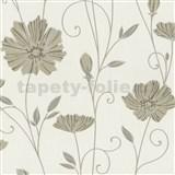 Vliesové tapety na stenu Tribute - kvety mákov hnedé na krémovom podklade