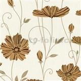 Vliesové tapety na stenu Tribute - kvety mákov okrové na krémovom podklade