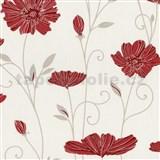 Vliesové tapety na stenu Tribute - kvety mákov červené na krémovom podklade