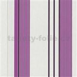 Vliesové tapety na stenu Tribute - pruhy fialovo-strieborné na bielom podklade