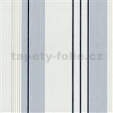 Vliesové tapety na stenu Tribute - pruhy modro-strieborné na bielom podklade