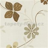 Vliesové tapety na stenu Tribute - kvety moderné svetlo hnedé