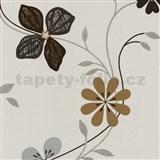 Vliesové tapety na stenu Tribute - kvety moderné hnedé, strieborné