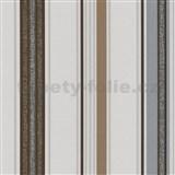 Vliesové tapety na stenu Tribute - pruhy tmavo hnedé, strieborné