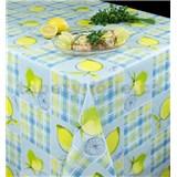 Obrus metráž modré kocky s citrónmi