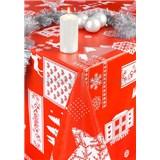 Obrusy návin 20 m x 140 cm vianočný motív červený