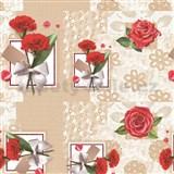 Obrus metráž červené karafiáty a ruže