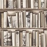 Vliesové tapety na stenu Kaleidoscope knižnica hnedá