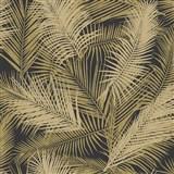 Vliesové tapety na stenu IMPOL EDEN palmové listy hnedo-zlaté s metalickým odleskom