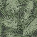 Vliesové tapety na stenu IMPOL EDEN palmové listy zelené s metalickým odleskom
