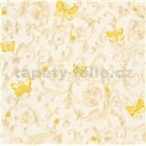 Luxusné vliesové tapety na stenu Versace III barokný vzor zlatý so žltými motýlmi