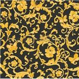 Luxusné vliesové  tapety na stenu Versace III barokový vzor s motýľmi zlato-čierny