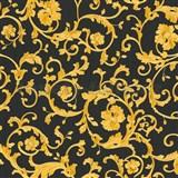 Luxusné vliesové  tapety na stenu Versace III klasický barokový vzor čierno-zlatý