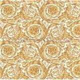Luxusné vliesové  tapety na stenu Versace IV barokový vzor bielo-žltý