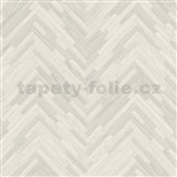 Luxusné vliesové  tapety na stenu Versace IV parketový obklad sivo-biely