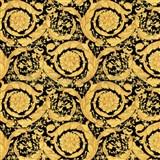 Luxusné vliesové  tapety na stenu Versace III barokový kvetinový vzor žlto-čierny