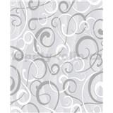 Vinylové tapety na stenu Vila moderný vzor sivo-biely na sivom podklade
