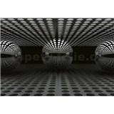 Vliesové fototapety 3D guľa strieborná rozmer 368 x 254 cm